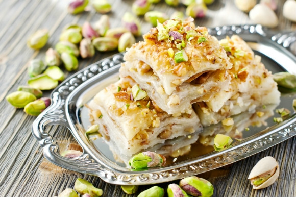 A sugary pastry covered in honey, Baklava is a Greek sweet treat.