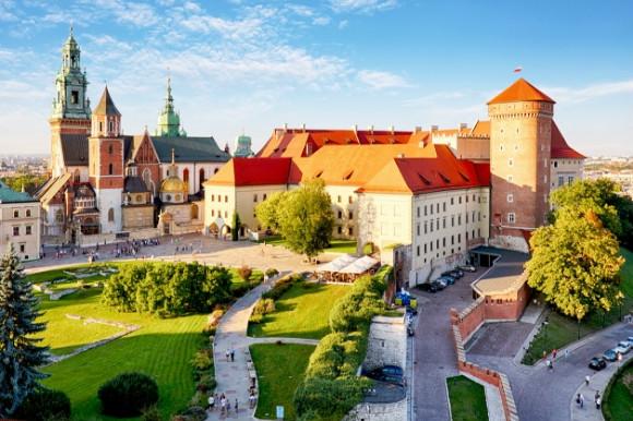 Scenic views of Wawel Castle in Krakow Poland