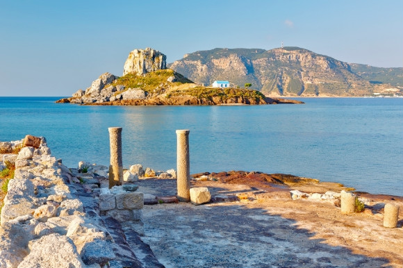 Alluring medieval ruins of Kos looking out onto the ocean