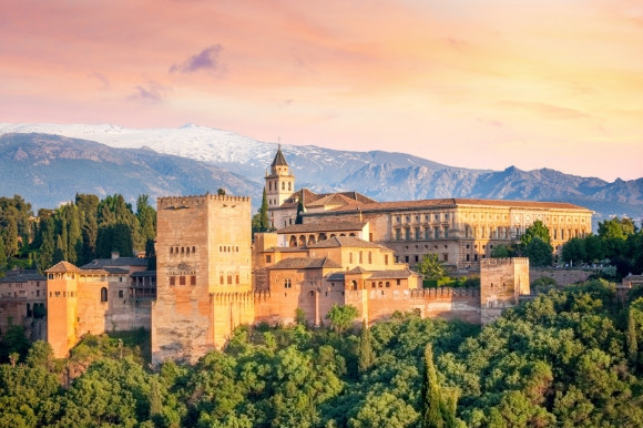Dusk scenic views of Alhambra Spain and its beautiful medieval fortress.