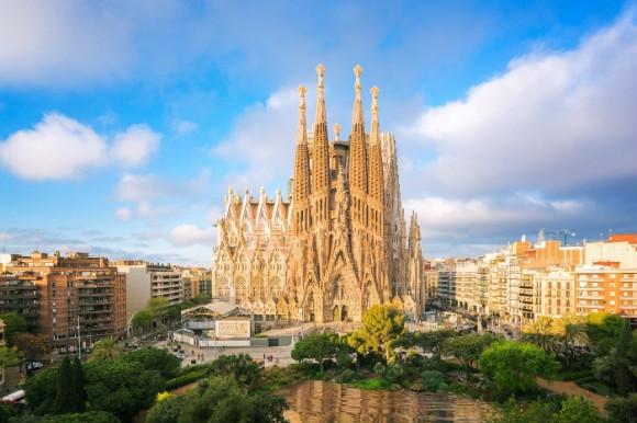 Antoni Gaudí's wonderful architecture the Sagrada Familiar in Barcelona, Spain