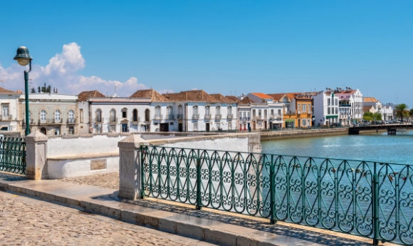 Bridge view overlooking the river in the town of Tavira, situated in Portugal's Algarve region