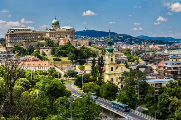 The Royal Palace in Budapest and surrounding landscapes