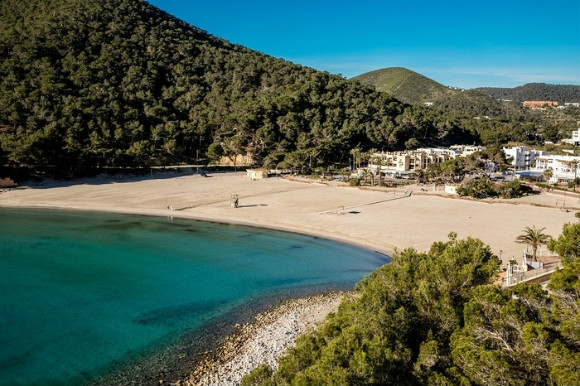 The secluded cover of Cala Llonga one of Ibizas finest beaches