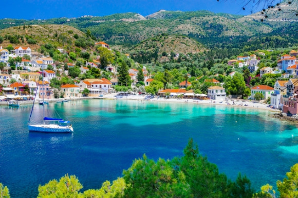 The shimmering waters of Assos Bay in Kefalonia Greece