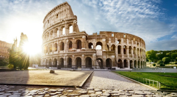 The mighty Colosseum dominating Rome on a sunny morning in Italy