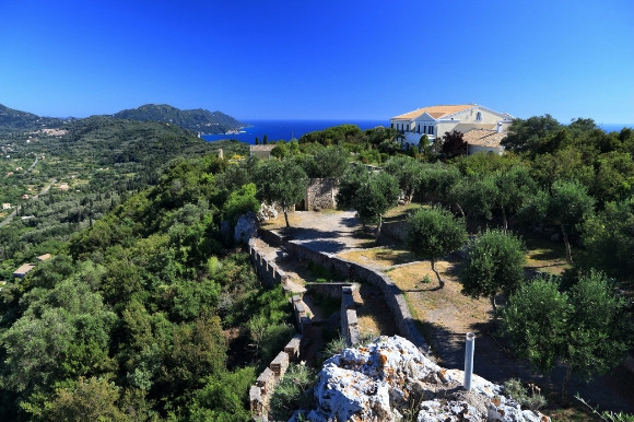Kaiser Throne ancient landmark in Corfu Greece and its scenic landscape.