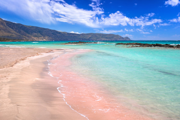 The world-famous Elafonissi Beach in Crete with its pink coloured sands and emerald waters