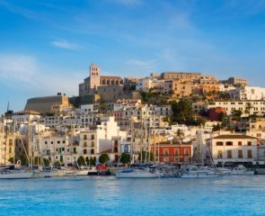 Panorama of Ibiza Town and its whitewashed houses from the Mediterranean Sea