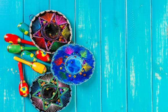 Colourful Maracas and a range of Sombrero hats used as part of a traditional Spanish Fiesta.