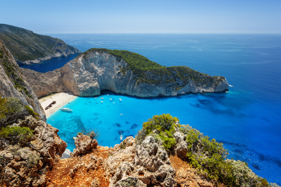 The breathtaking scenery of Navagio Beach in Zante taken from the viewpoint at the top