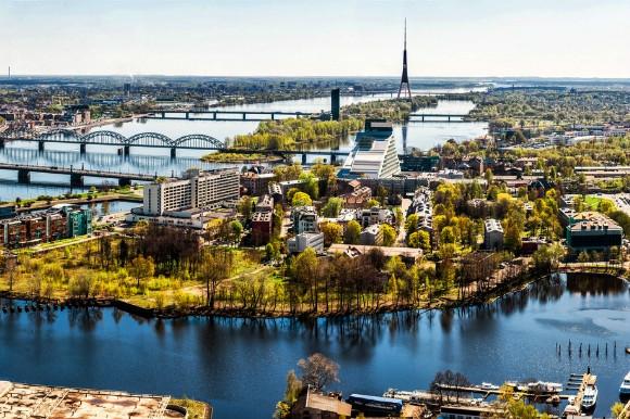 Dramatic river views of Riga city in Latvia