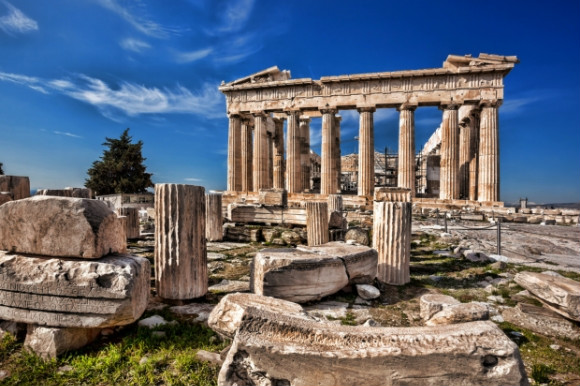 The famous Parthenon Temple in Athens Acropolis Greece.