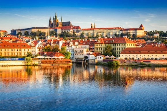 River views of Prague Castle on a sunny day in Czech Republic