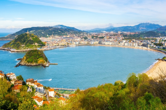 Dramatic views of the epic landscape of San Sebastian City and La Concha Bay in Spain