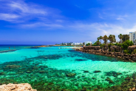 Emerald waters of the Mediterranean along the stunning coast of Protaras in Cyprus, Fig Tree Bay.