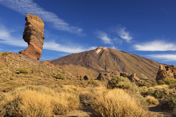The incredible luna landscape of Teide National Park in Tenerife with Mount Teide in the background