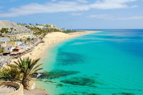 The Caribbean-like shores of the Blue Flag Playa del Matorral beach in Fueteventura Spain.