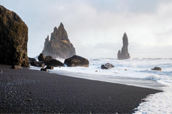 A frosty day on Iceland's volcanic black sand beach Reynisfjara