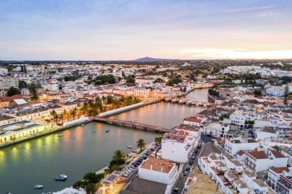 Panoramic view of Tavira town in Porugal's Algarve at dusk