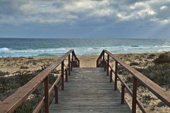 The quiet Ilha Deserta Beach in Portugal's Algarve, not far from the capital Faro