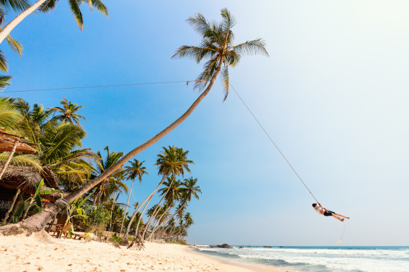 Dalawella Beach in Sri Lanka with a stretch of white sand and a small boy swinging from a tall palm tree