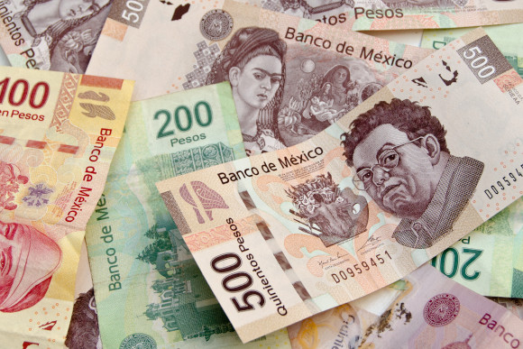 Colourful Mexican bank notes, a bundle of Mexican Peso's