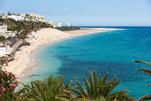 Morro Jable coastline and its powder white sands and clear waters in Jandia resort Fuerteventura