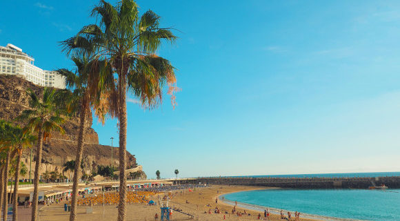 View of Playa Amadores Beach in Gran Canaria