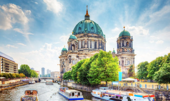 Berlin city centre and the cathedral alongside the River Spree in Germany