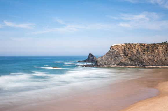 The beautiful Praia de Odeceixe Mar Beach in Portugal with an absence of tourists