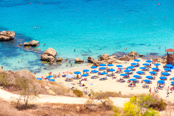 The striking Konnos Bay close to Protaras in Cyprus with azure waters and a white body of sand