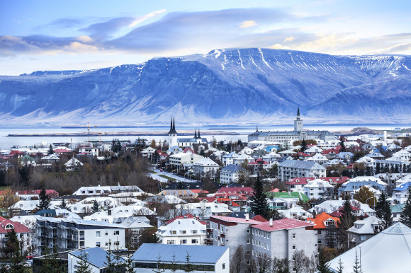 Surrounding vistas of the city of Reykjavik in Iceland on a snowy day.