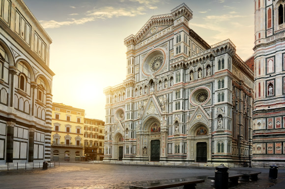 Stunning views of the architecture in Florence Italy as dusk falls