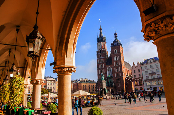 Views of the Jewish District in Krakow Poland packed with tourists