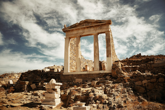 The UNESCO World Heritage Site Temple in Delos surrounded by ancient rock ruins