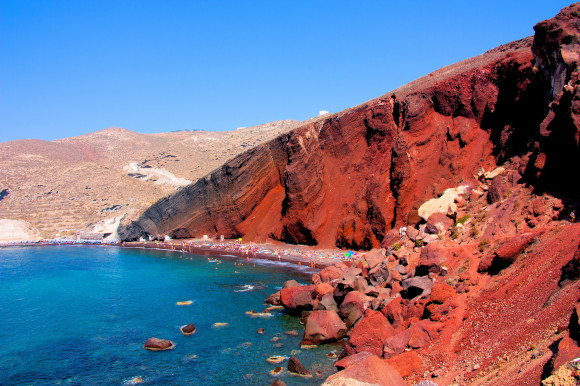 Red Beach in Santorini with its unique rose-coloured rocks and beautiful waters