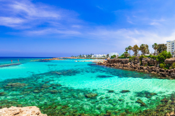 The clear emerald waters of Cyprus' popular Fig Tree Bay in the resort of Protaras