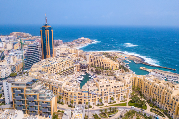 Beautiful aerial view of Spinola Bay, St. Julians and Sliema in the day