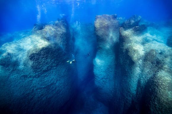Divers exploring the ocean walls off the coast of Turkey over 30 metres deep