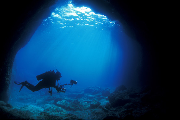 The underwater coves and caves off the coast of Marmaris explored by divers with cameras