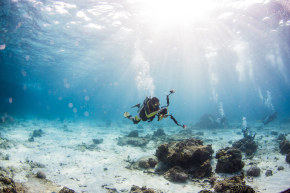 Expert diver exploring the sea bed of Turkey's coastline with a camera taking photos of the coral reefs
