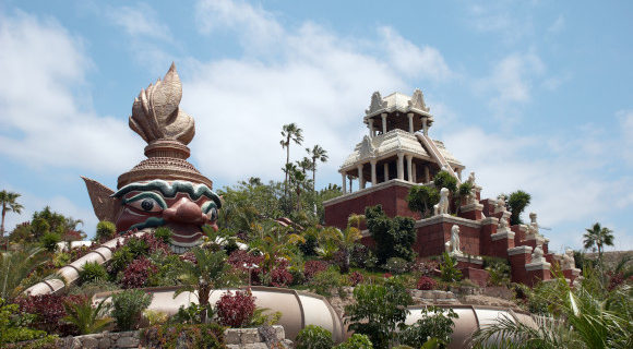 A view of Siam Park in Tenerife showing its most famous slide, Tower of Power.