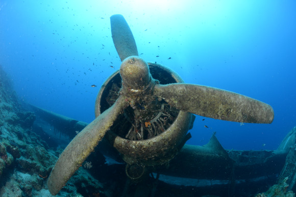 The wreckage of Dakota C47 plane from the Turkish Air Force on the seabed of Turkey and eroding away