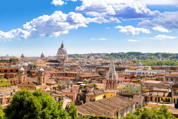 Epic panoramas of the city of Rome from an aerial view showcasing all its major attractions and relics