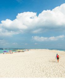 Beautiful white sands of Playa De Ses Illetes beach in Formentera