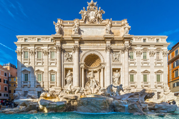 The archaeological wonder known as the Trevi Fountain in Rome on a sunny day