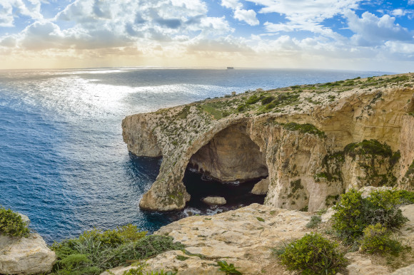The underwater caves of the Blue Grotto in Malta