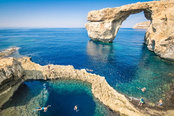 Gozo island and its unique rock formation known as Azure Window in Malta