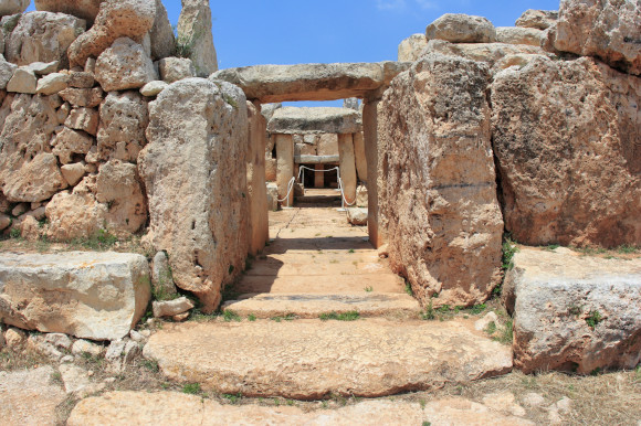 The crumbling walls and remains of the Mnajdra and Hagar Quim temples in Malta